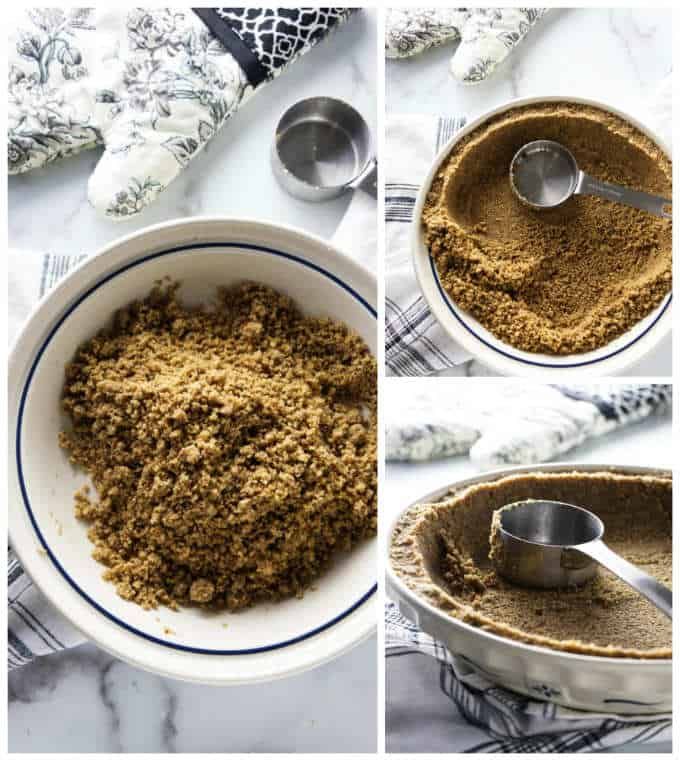 Process photos for pecan pie crust in a pie plate.