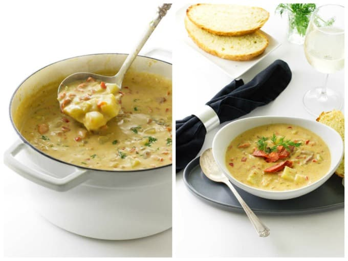 A collage of 2 pictures showing smoked salmon chowder in a pot and in a serving bowl.
