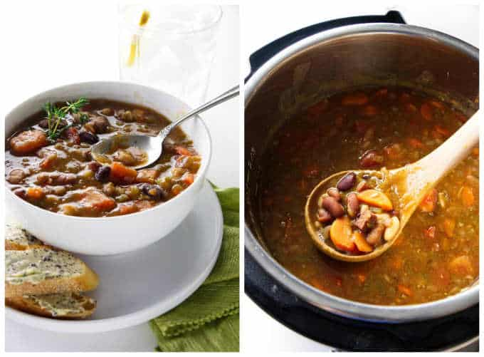 Collage of 2 photos of instant pot 15 bean soup.