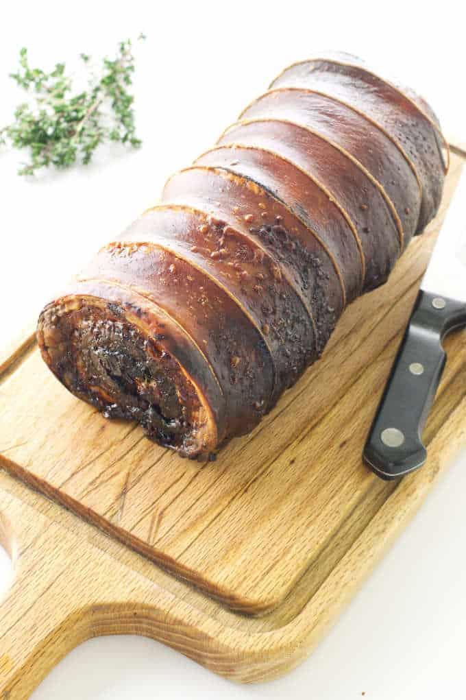 Porchetta on cutting board