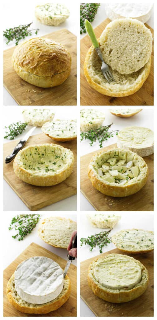 Process picture for baked brie in bread bol