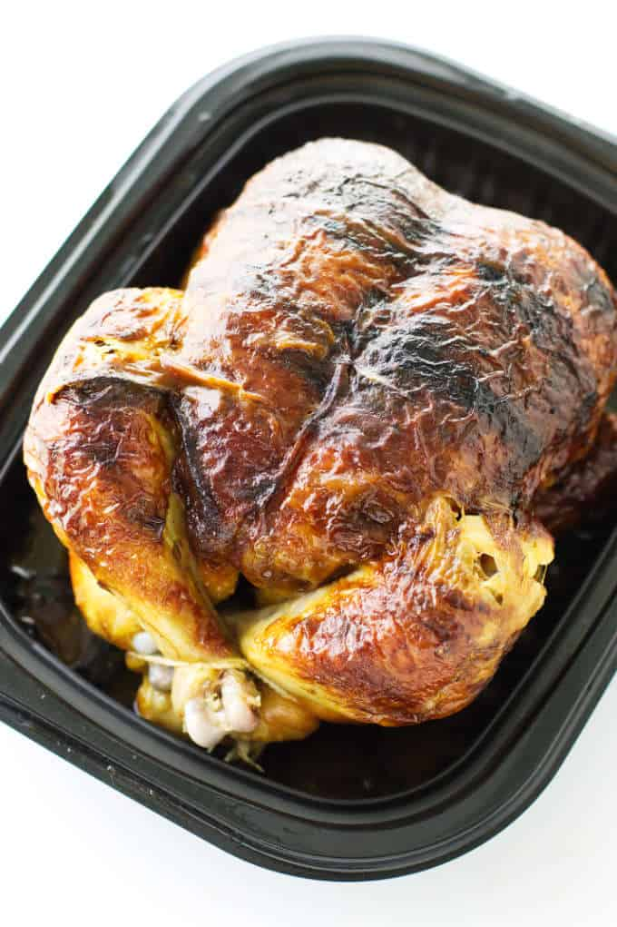 A rotisserie chicken ready to be used in chicken soup with wild rice.