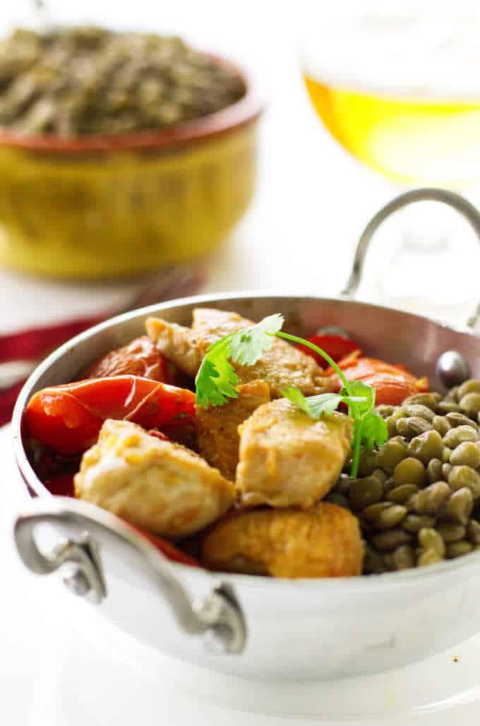 Chicken Karahi with lentils.