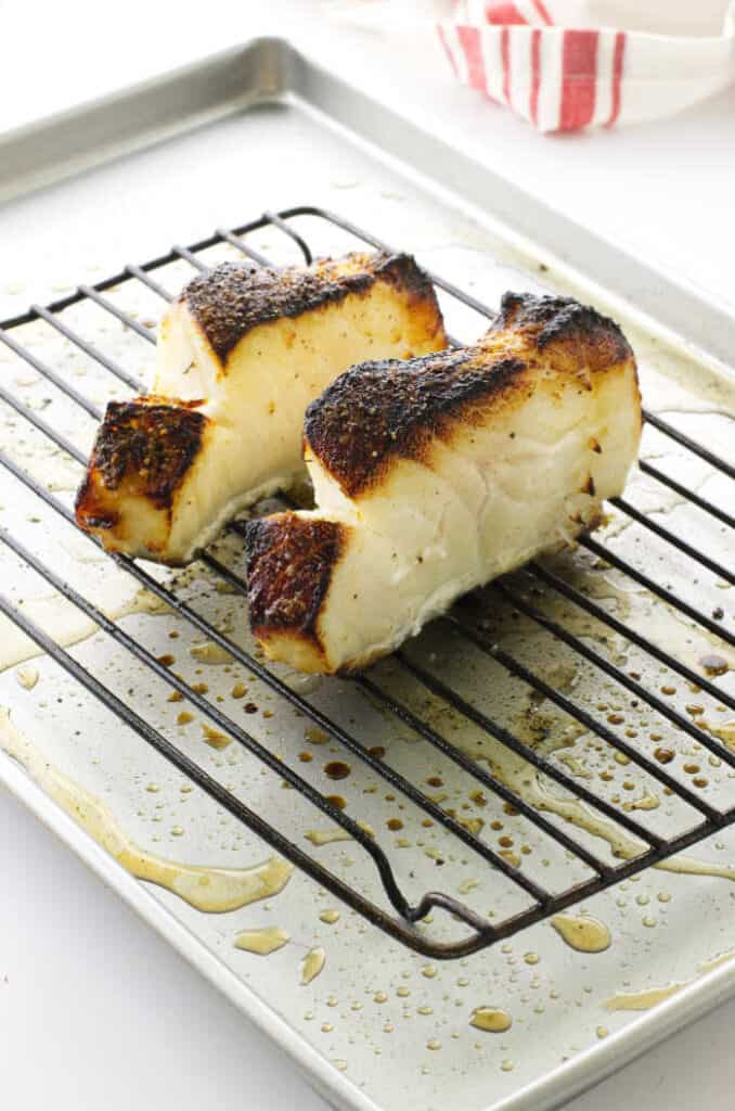 Broiled Chilean Sea Bass on sheet pan