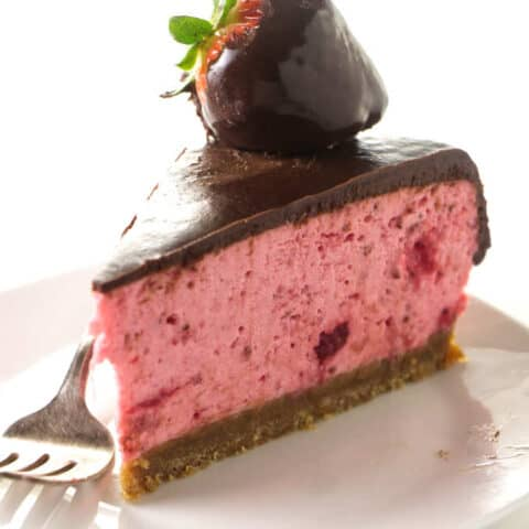 No Bake Chocolate Covered Strawberry Cheesecake