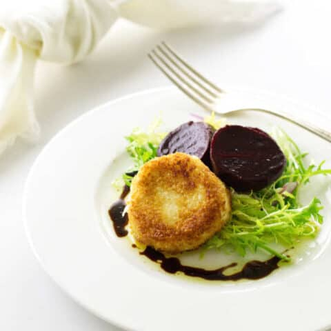 Fried Goat Cheese Discs and Roasted Beet Salad
