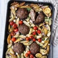 Sheet pan Greek bifteki with potatoes