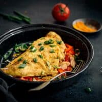 Veggie-Stuffed Vegan Omelette Recipe (Made with Chickpea Flour)