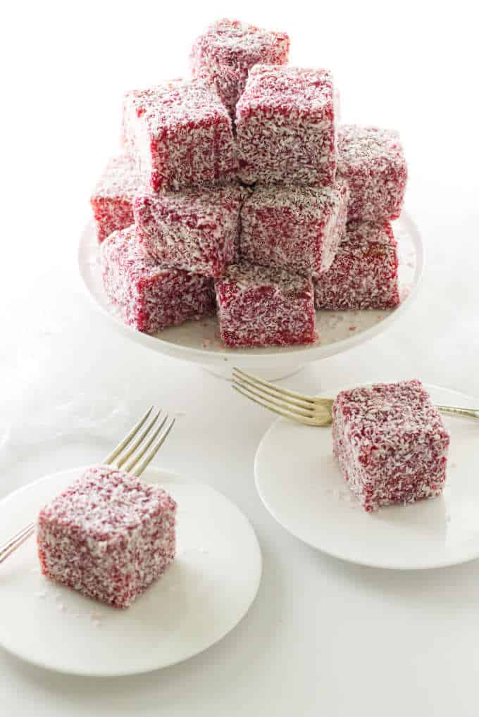 A stack of lamingtons and two servings