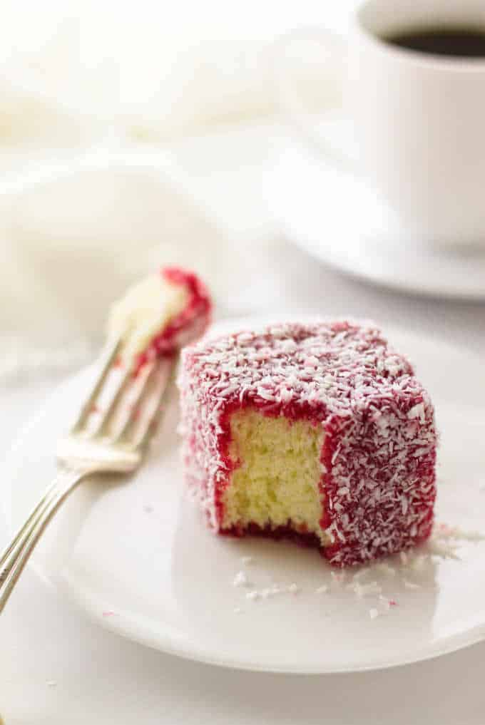 lamington on a plate, fork with a bite