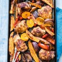 Sheet Pan Baked Chicken Thighs and Sweet Potato {Gluten Free}