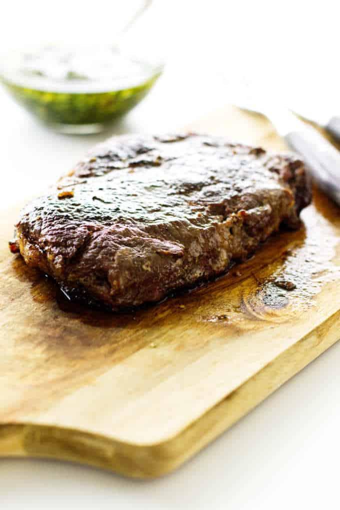 ribeye steak on cutting board