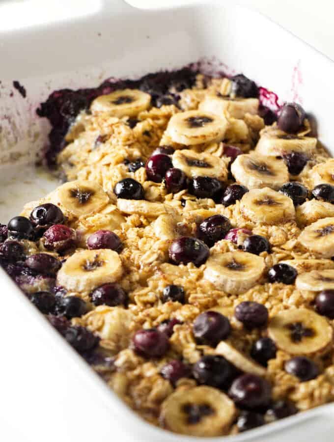 A 9 x 13 pan of baked oatmeal.