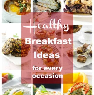 collage of 9 photos for healthy breakfasts.