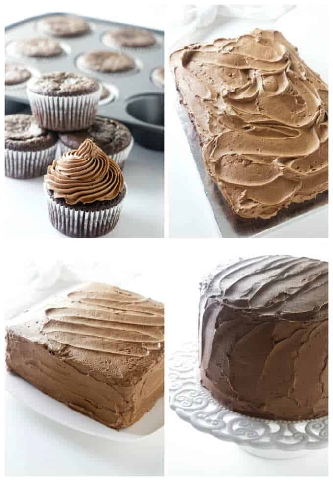 A collage of 4 photos showing some of the different sizes and shapes that this chocolate cake can be baked in.