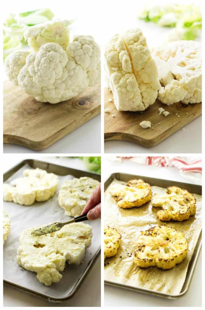 collage of prepping for cauliflower steaks