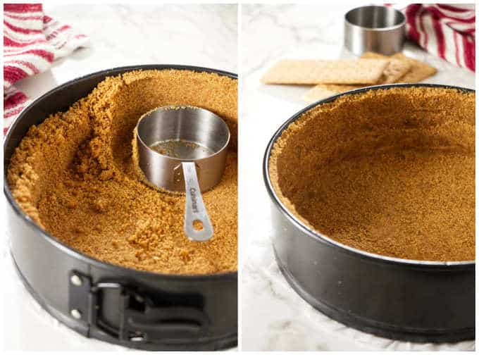 Pressing graham cracker crust into a cheesecake pan.