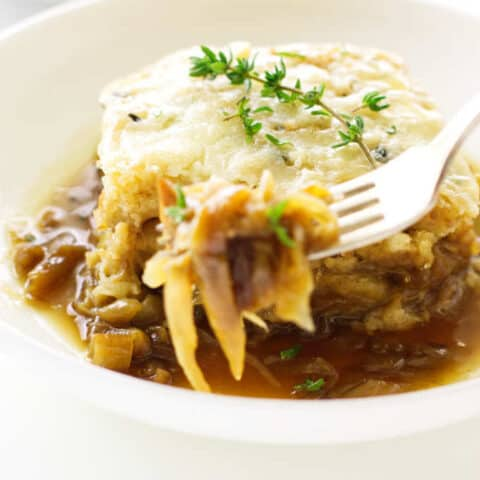 close up view of French onion soup casserole