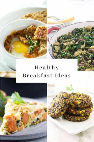 collage of 4 photos for healthy breakfasts.