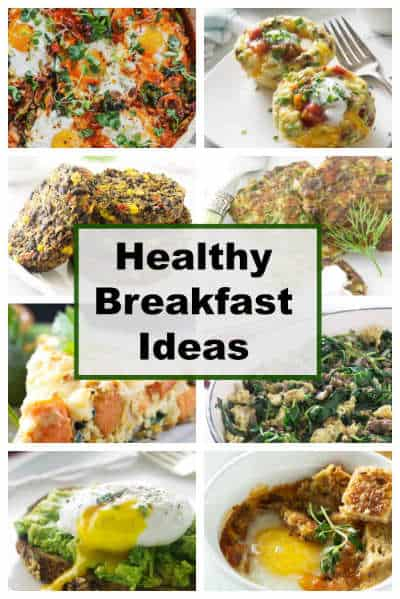 collage of 8 photos for healthy breakfasts.