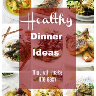 collage of photos of healthy dinners.