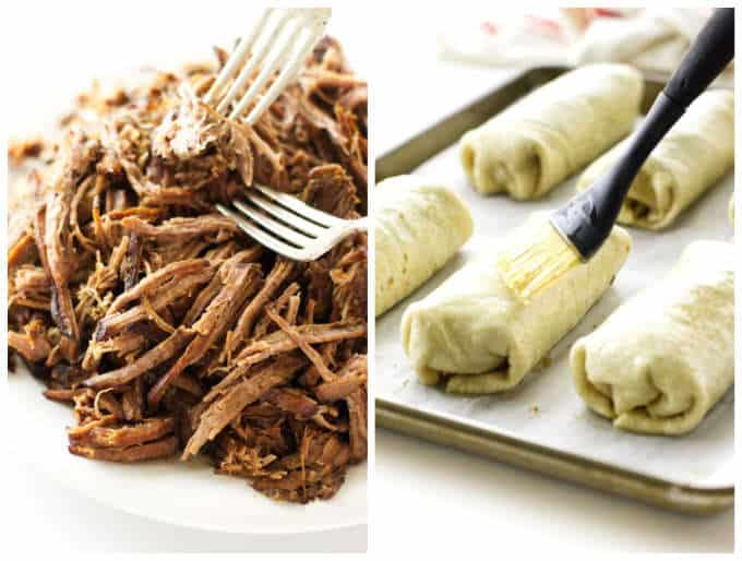 A collage of 2 photos showing steps for making shredded beef chimichangas.