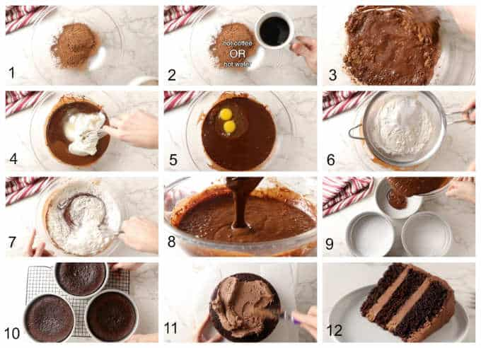 Process photos showing the steps for making chocolate cake.