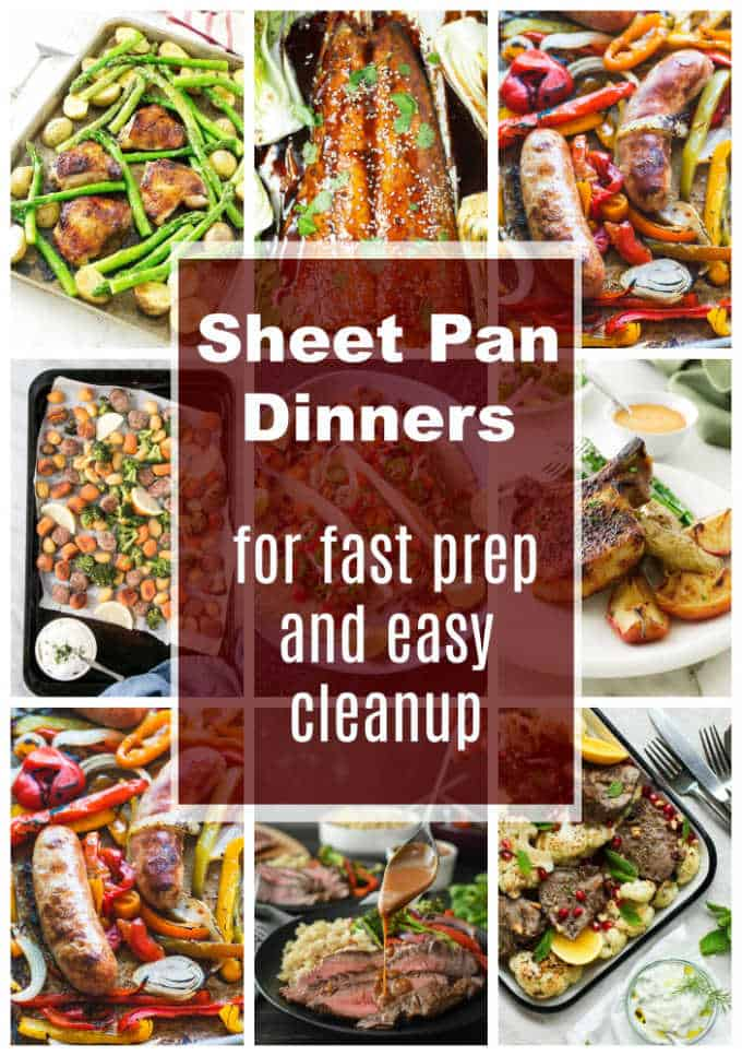 Collage of 9 photos showing sheet pan dinners for easy cleanup.