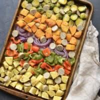 Sheet Pan Sausage and Veggies {GF, Low Cal, Paleo}
