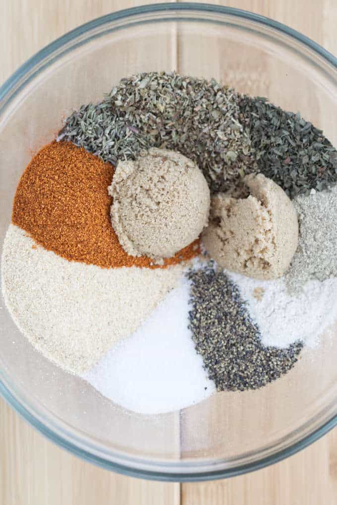 All the spices used in cajun seasoning mix that have not been blended.