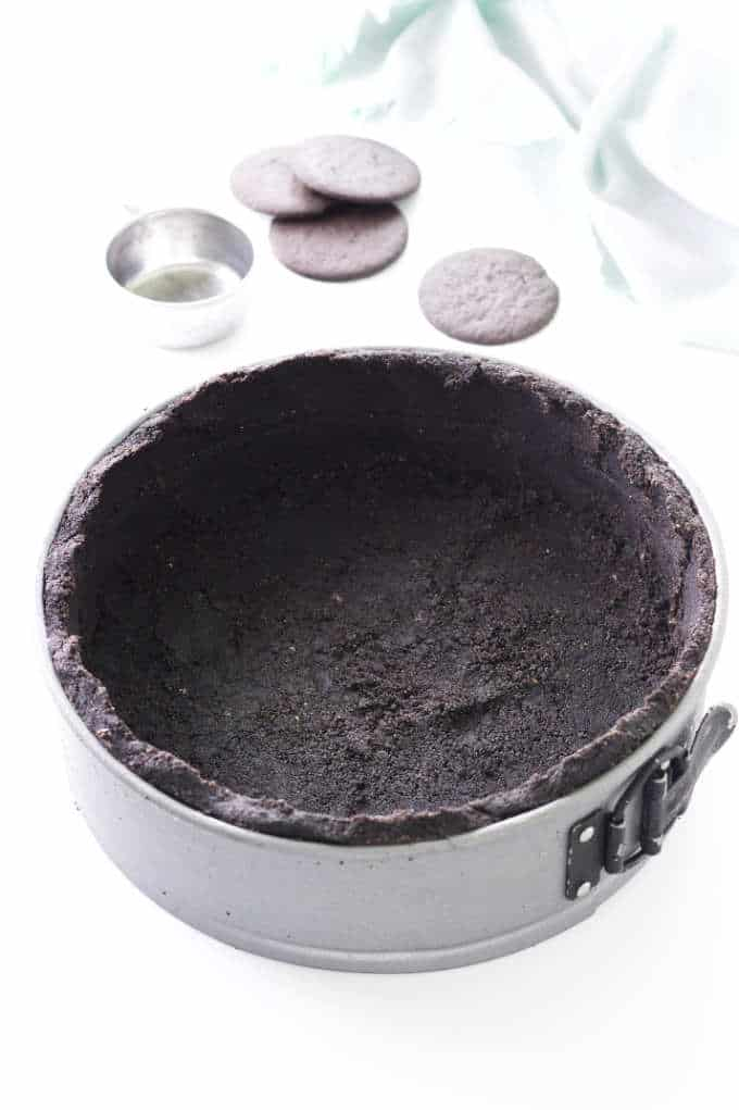 Chocolate crust in springform pan
