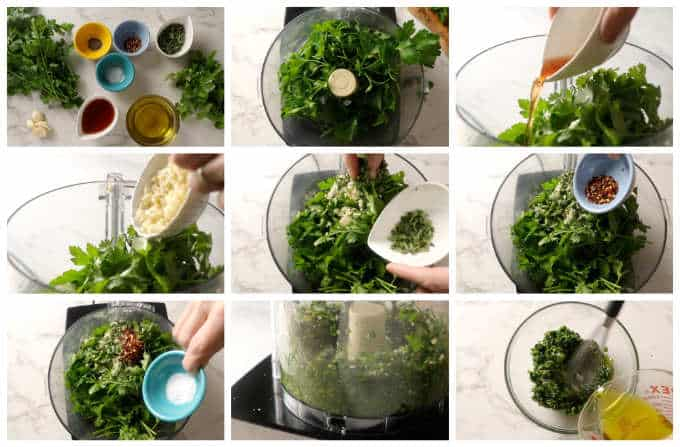Collage of 9 photos showing how to make chimichurri sauce.