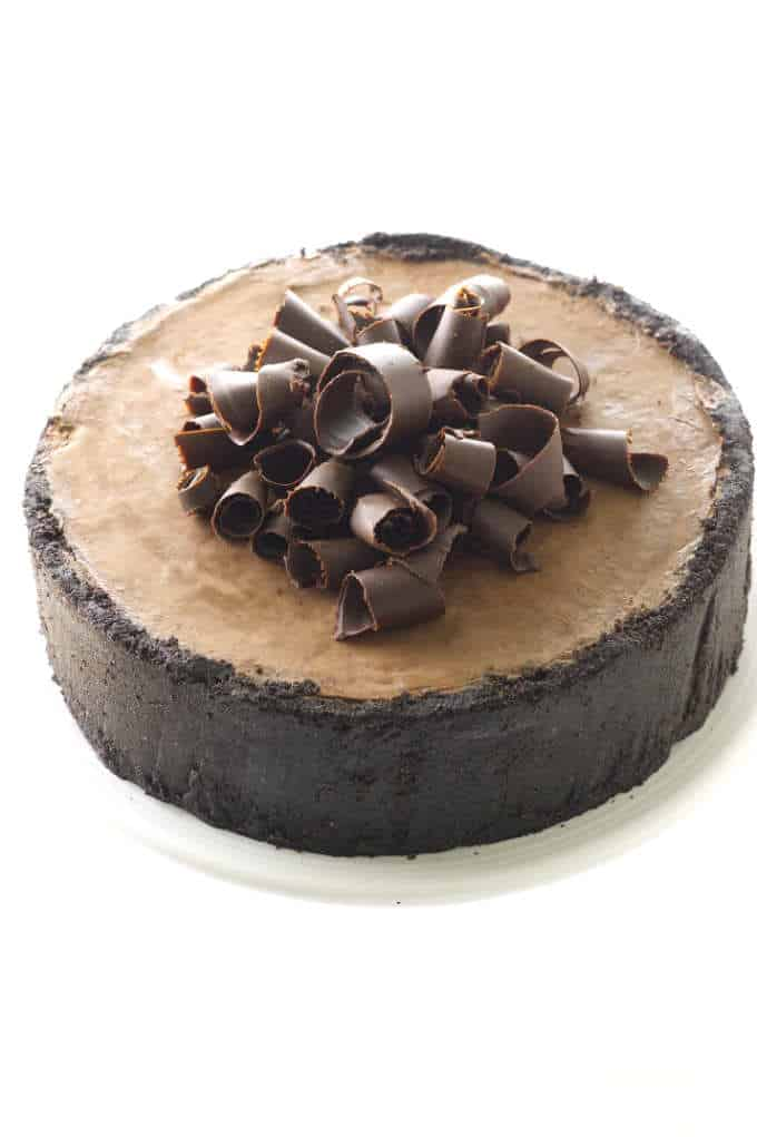 Overhead view of chocolate cheesecake