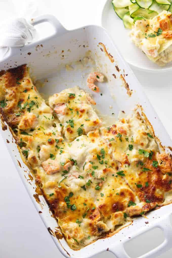 Overhead photo of seafood lasagna in a baking dish.