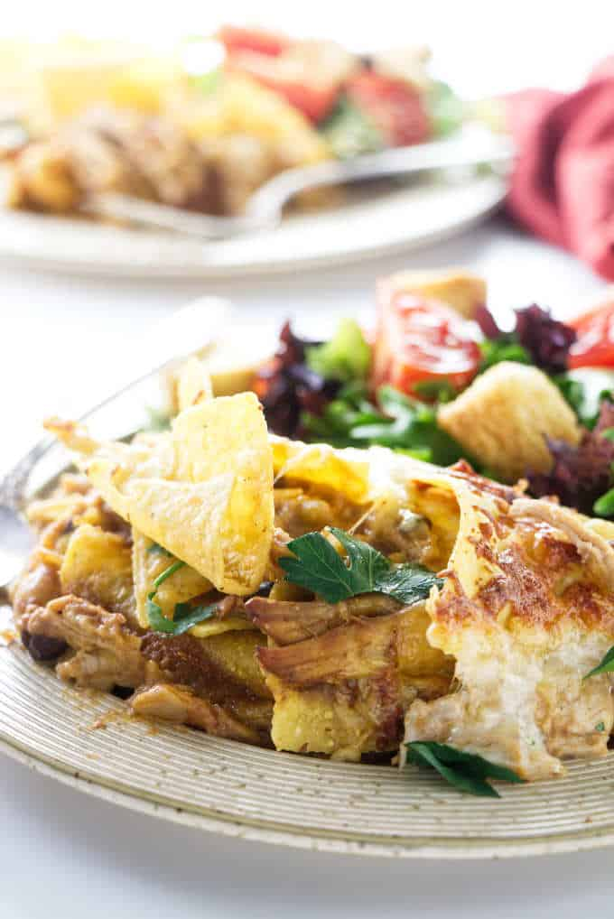 Close up photo of chicken tortilla chip casserole.