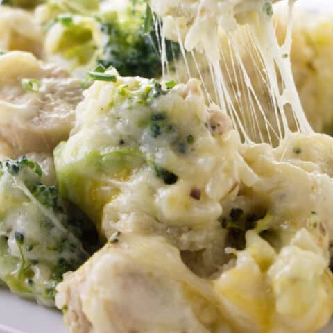Cheese stretching from a spoon of chicken broccoli and rice casserole.