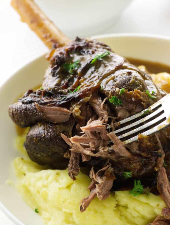 close up view of lamb shank and mashed potatoes/sauce