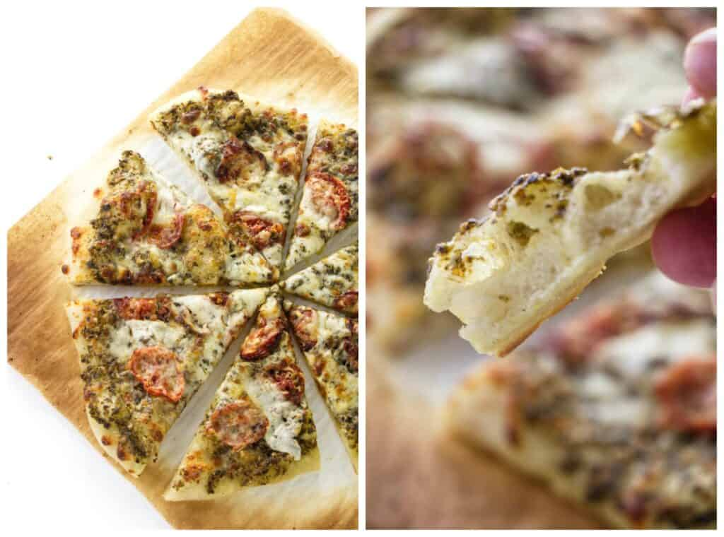 A collage of baked sourdough pizza crust.