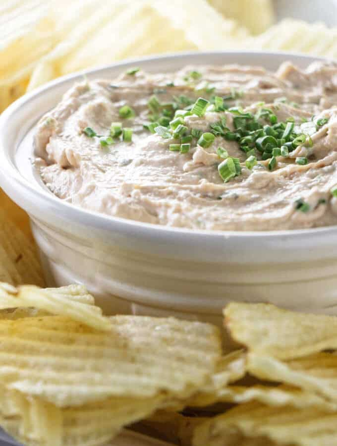 French onion dip and ruffle potato chips.