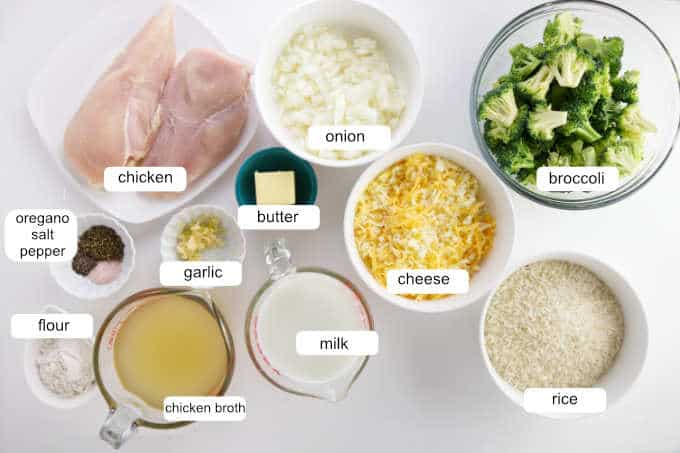 ingredients for chicken broccoli and rice casserole.