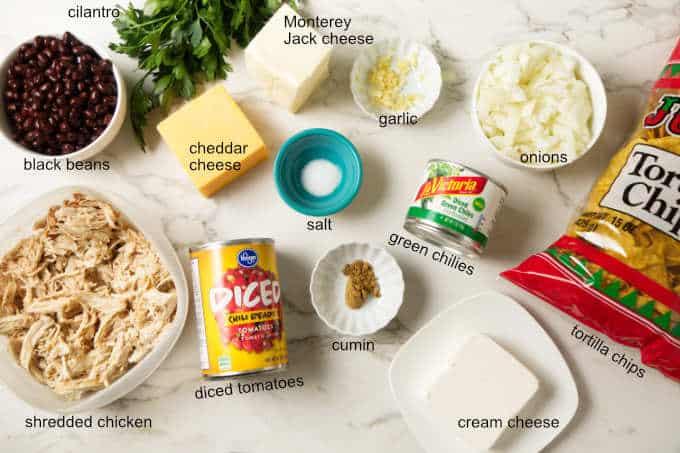 Ingredients needed for chicken tortilla chip casserole.