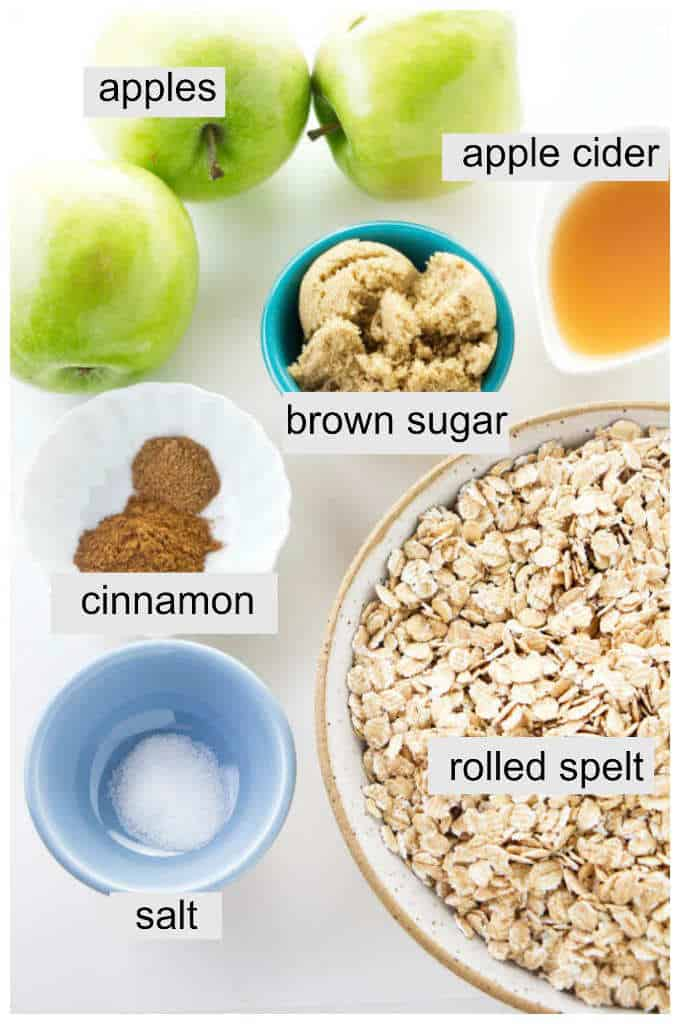 ingredients used for rolled spelt cereal with cinnamon apples.