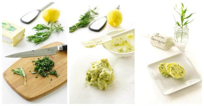 collage of Lemon Tarragon Butter