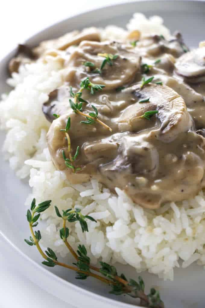 Mushroom marsala sauce on white rice.