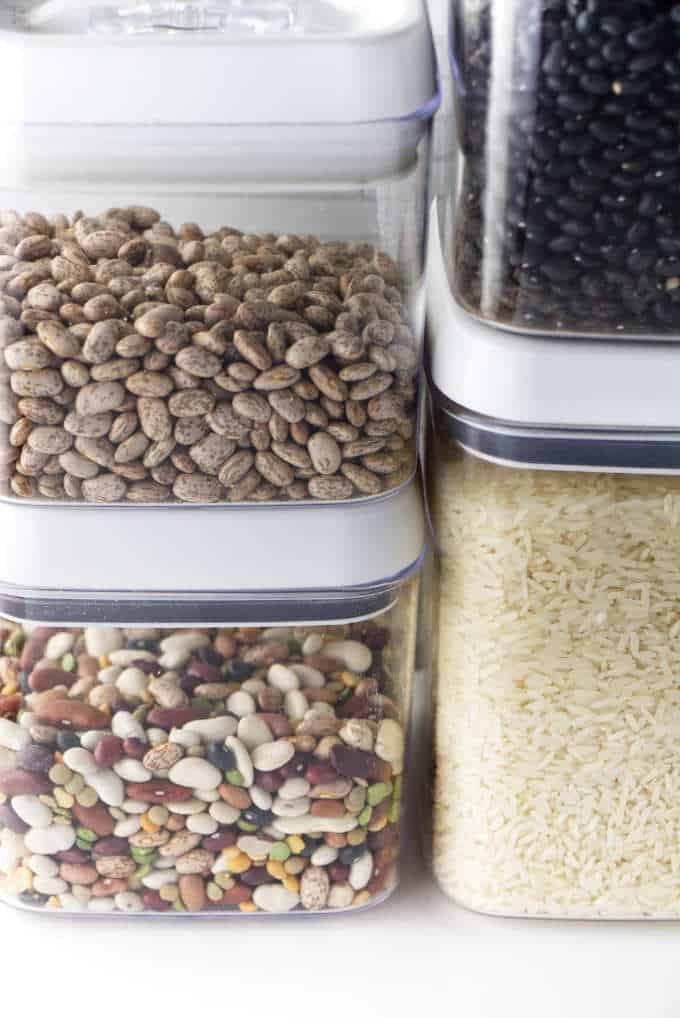 Dried beans and rice in the pantry.