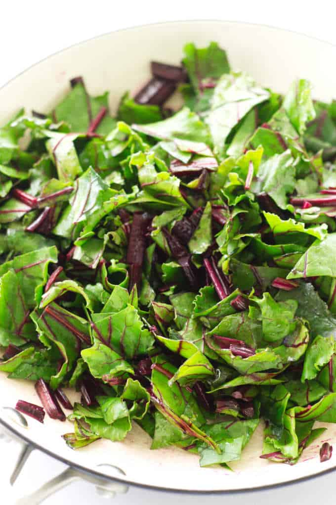 skillet of beet greens