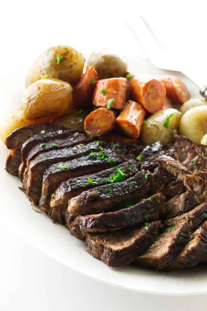 Sliced Pot Roast with carrots, potatoes and onions