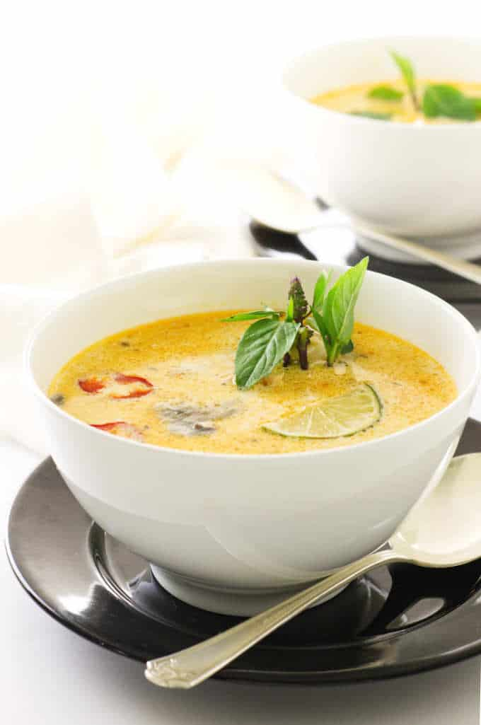 two bowls of Thai Coconut chicken soup