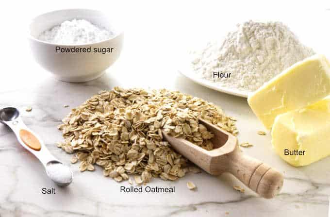 Ingredients used in oatmeal shortbread.