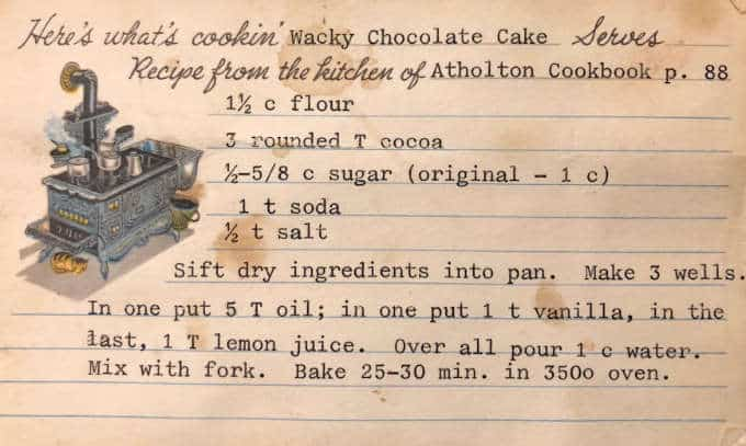 Photo of the original recipe for wacky chocolate cake from the Atholton church cookbook.